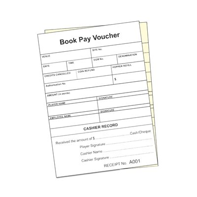 GENERIC POKER MACHINE PAYOUT VOUCHER BOOK - NSW - (DUPLICATE)